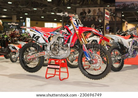Long Beach, CA - November 13, 2014:  Honda CRF250R 2015 on display at the International Motorcycle Show