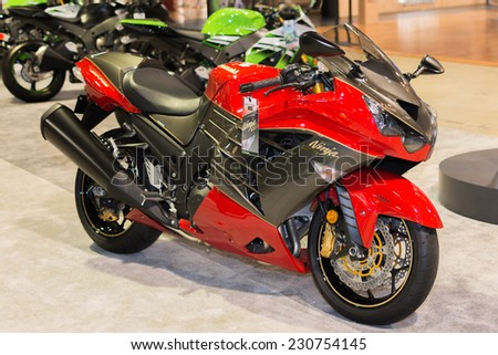 Long Beach, CA - November 13, 2014: Kawasaki Ninja ZX-14R ABS 30th Anniversary Edition motorcycle on display at the International Motorcycle Show