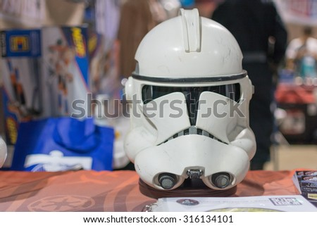 Long Beach, CA - USA - September 12, 2015: Star Wars Storm Trooper helmet on display at The Long Beach Comic Con held at the Long Beach Convention Center. - stock photo
