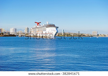"LONG BEACH/CALIFORNIA - FEB. 20, 2016: Carnival Imagination (formerly ""Imagination"") a fantasy-class cruise ship operated by Carnival Cruise Lines docked in Long Beach, California USA - stock photo"