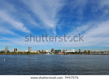 Long Beach, California Skyline in January - stock photo