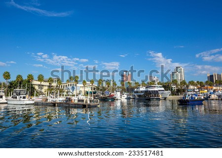 Long Beach Marina and city skyline, Long Beach, California. - stock photo