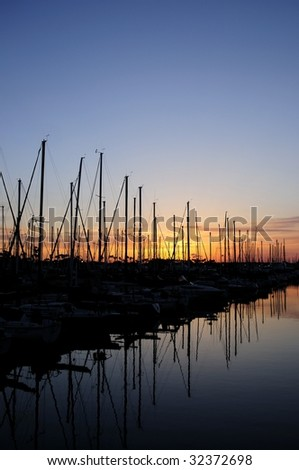 Long Beach Marina Sailboats just after Sunset - stock photo