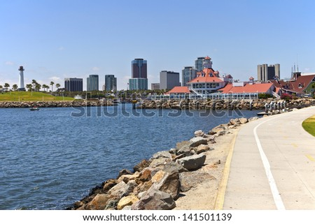 Long beach skyline promenade and marina - stock photo