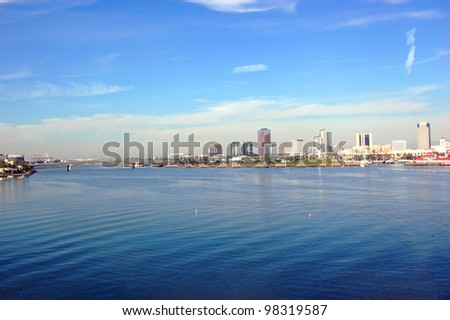 Long Beach Skyline, viewed from Queen Mary, California, USA