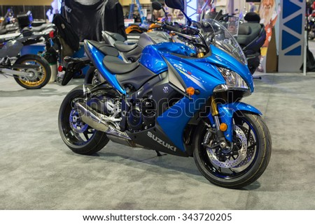 Long Beach, USA - November 20, 2015: Suzuki GSX S 1000 on display during Progressive International Motorcycle Show.