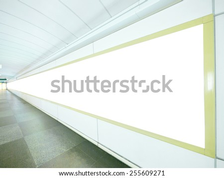 Long blank billboard on wall - stock photo