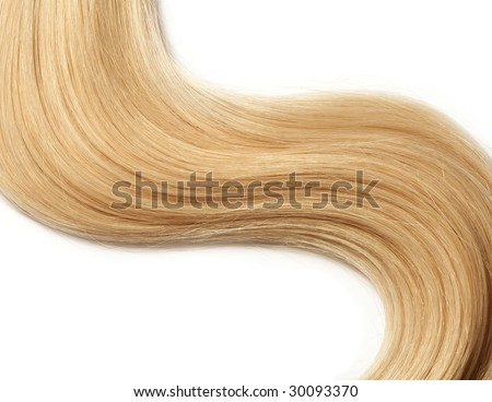 long blond human hair isolated on white background