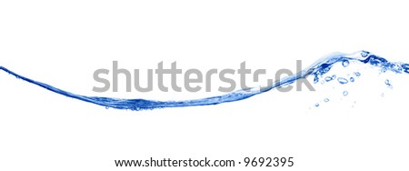 Long blue wave isolated on white