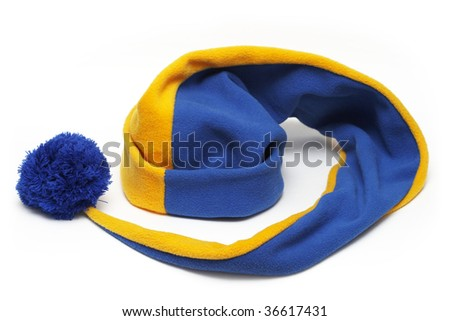 Long blue-yellow cap isolated over white background