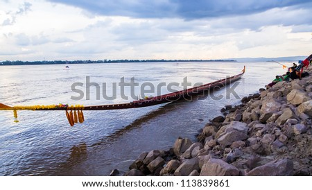 Long boat in the river - stock photo