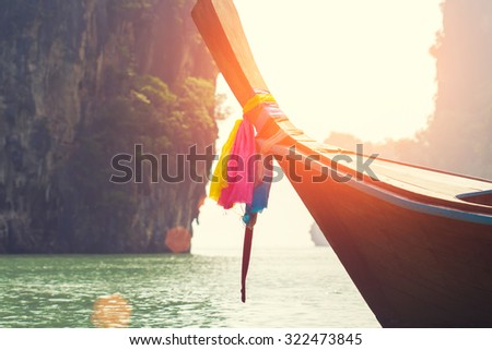 long boat on beautiful island in Thailand - stock photo