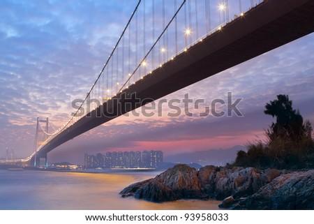 long bridge in sunset hour - stock photo