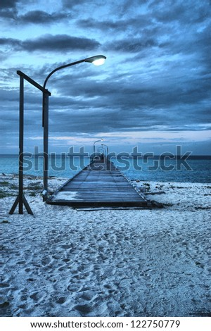 long bridge in the  picture  toward  morning on Derawan Island Indonesia