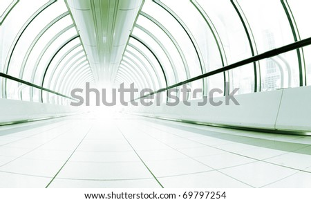 long bright corridor with the light in the end - stock photo