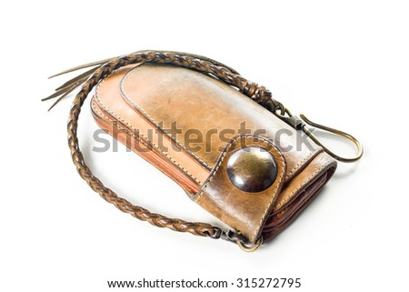 long brown wallet on white