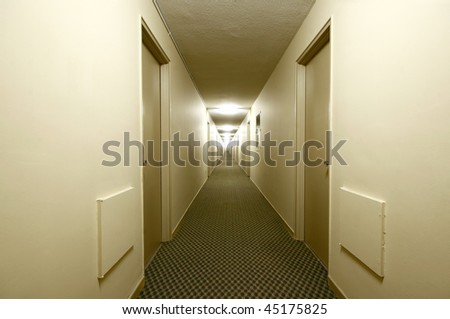 Long building hallway (apartment, condominium, hotel, commercial) - stock photo