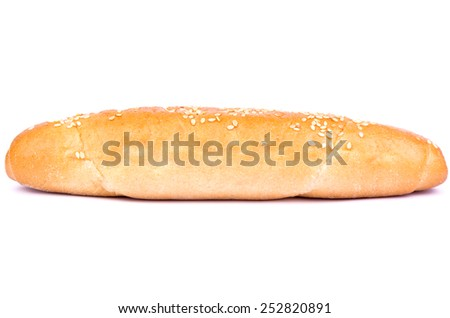 Long bun with sesame for hot dogs