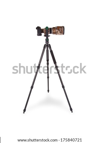 Long camouflaged professional supertele on tripod isolated on white - stock photo