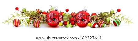 Long Christmas corner border with baubles and branches - stock photo