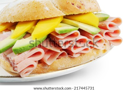 Long Ciabatta Sandwiches with  ham, avocado and cheese