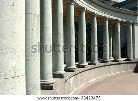 Long colonnade of the old palace in Moscow
