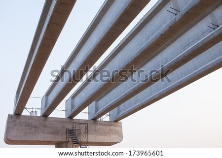 Long concrete bridge was constructed the evening - stock photo