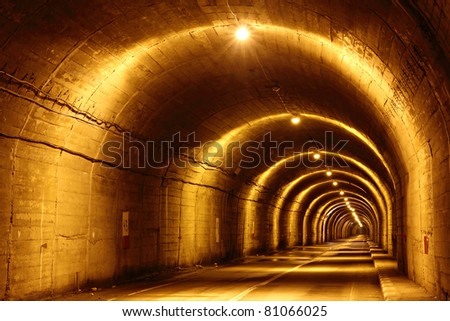 Long concrete tunnel though a mountain