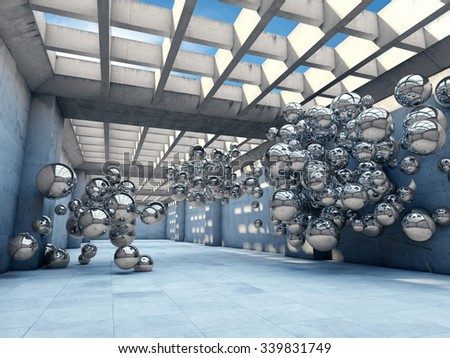Long concrete tunnel with metallic spheres. Futuristic concepts.
