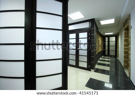 Long corridor at the big office - stock photo