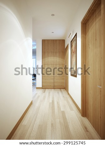 Long corridor contemporary style. White wall with a flat brown plinth. Wardrobe at the end of the corridor. 3D render - stock photo