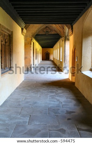 Long corridor in old building - stock photo