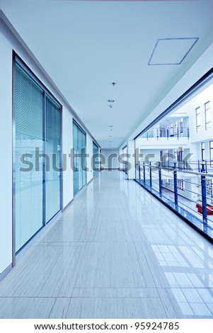 long corridor, modern building interiors