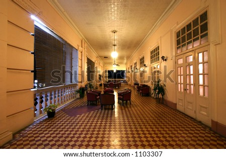 Long corridor of old colonial style building