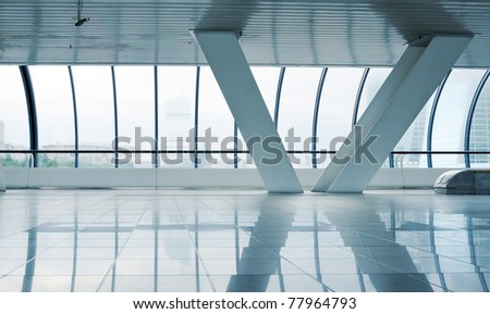 Long corridor with column - stock photo