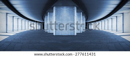 long corridor with columns, surreal design, toned photo    - stock photo