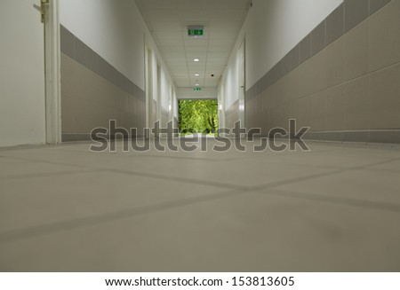 long corridor with view - stock photo