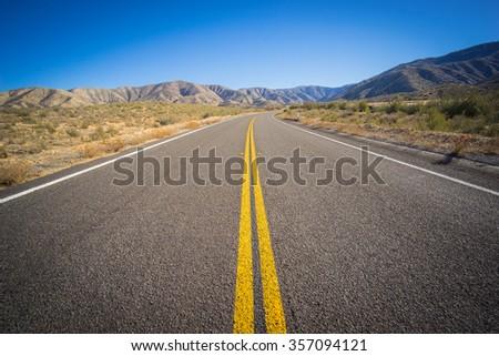 Long Desert Highway California - stock photo