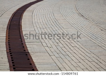 Long Drain in the Streets - stock photo