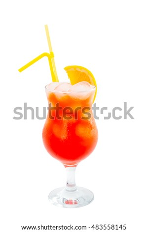 Long drink alcoholic cocktails isolated on white background.