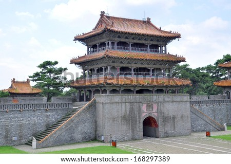 Long'en Gate of Fuling Tomb of Qing Dynasty, Shenyang, China. Fuling Tomb is the UNESCO World Heritage Site since 2004. Fuling Tomb (East Tomb) is the mausoleum of Nurhaci. - stock photo