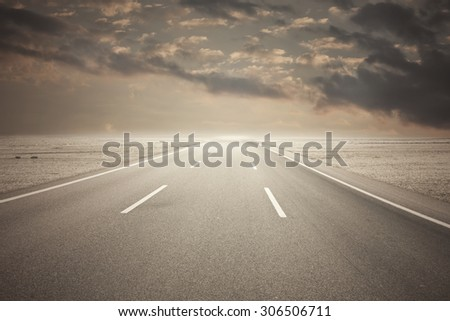 Long endless road  - stock photo