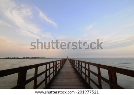 Long exposition of a dock   - stock photo