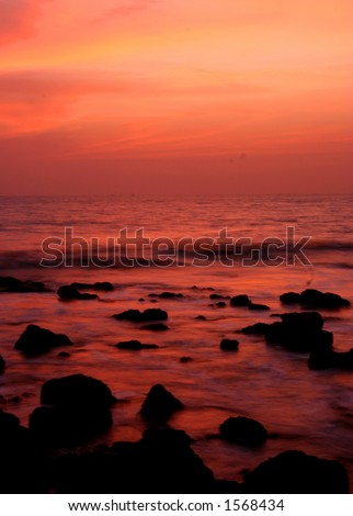 long exposure after sunset (goa, India). - stock photo