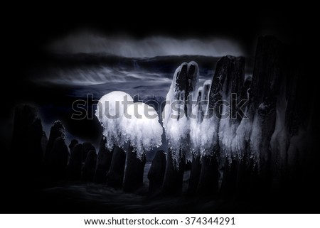 Long exposure and black and white image - stock photo