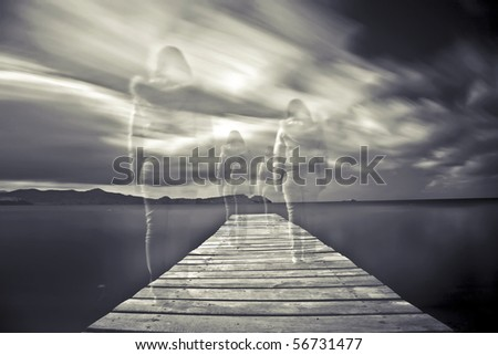 long exposure and movement - stock photo