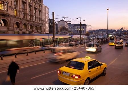 Long Exposure At Karakoy - Istanbul - stock photo