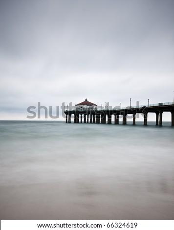 Long Exposure at the Manhattan Beach Pier vertical - stock photo