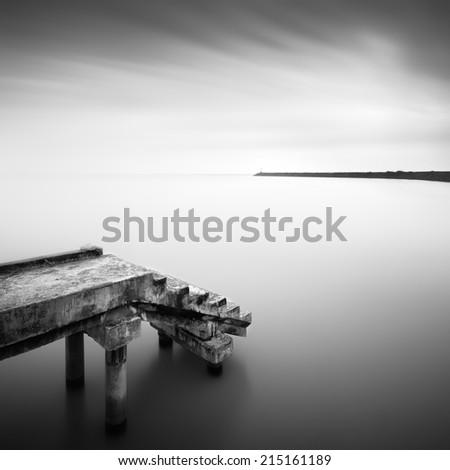 long exposure black and white image . Image has noise ( soft focus, Shallow DOF, slight motion blur ) - stock photo