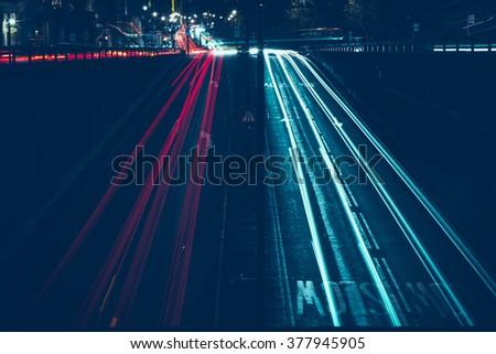 Long Exposure Cars - stock photo